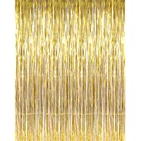 Party Propz Golden Metallic Fringe Foil Curtain (3 Feet by 6 Feet) for Birthday,Wedding,Anniversary Decoration
