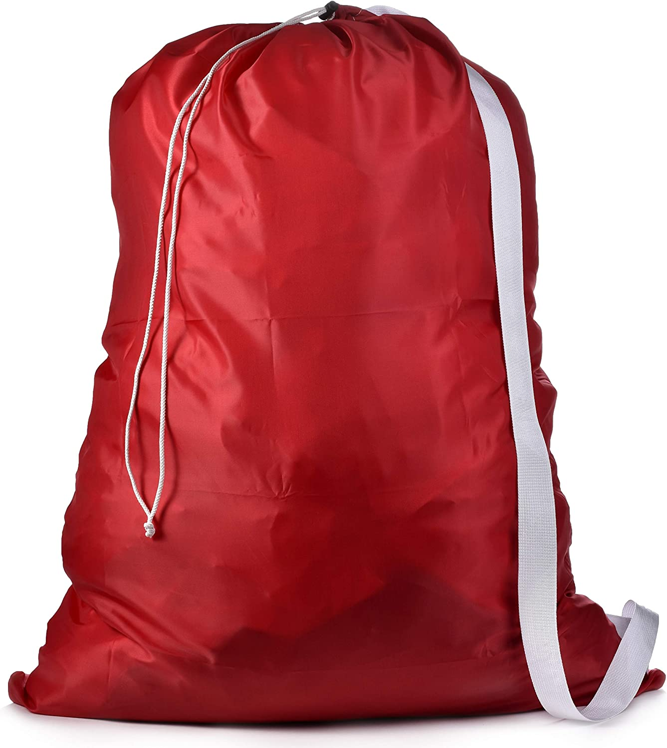 "Shoulder Strap Laundry Bag - Drawstring Locking Closure, Durable Nylon Material, Large Capacity, Heavy Duty Stitching, Hands Free Carrying, Perfect for Laundromat or College Dorm. (Red | 30"" x 40"")"