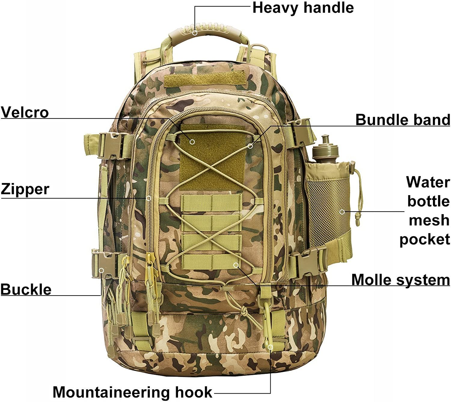 Outdoor 3 Day Expandable 40-64L Backpack Military Tactical Hiking Bug Out Bag