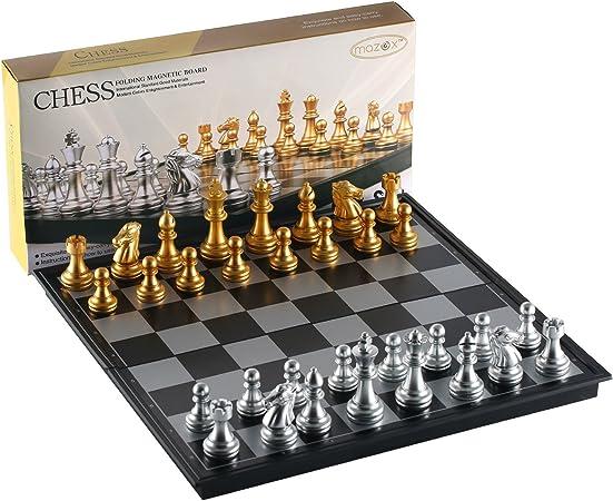 MAZEX Juego de ajedrez Plegable magnético para by Juego de Mesa de ajedrez para niños o Adultos (12.5X12.5X0.8 Inch, Gold&Silver Chess Pieces): Amazon.es: Juguetes y juegos