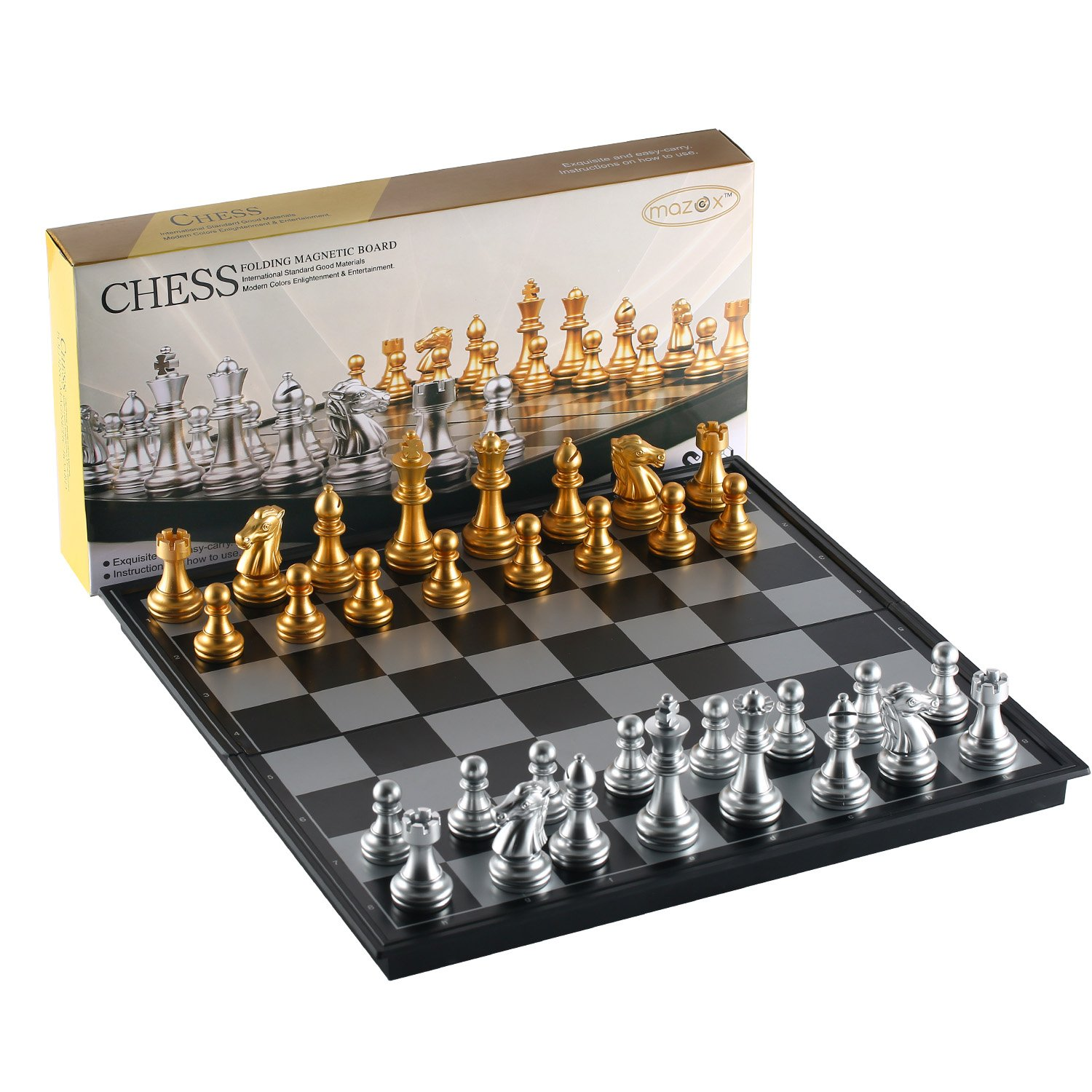 Magnetic Folding Chess Set for by MAZEX Kids or Adults Chess Board Game 9.8X9.8X0.8 Inch (Black&White Chess Pieces)