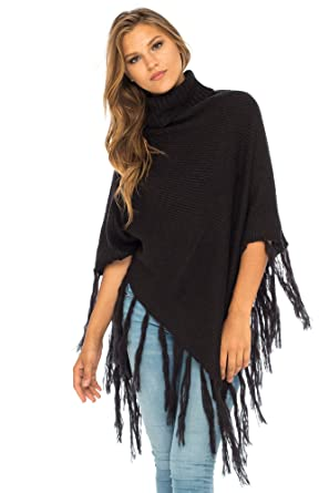 202760dec Back From Bali Womens Knit Fringed Poncho Boho Sweater Cape with Cowl Neck  Soft Boho Winter