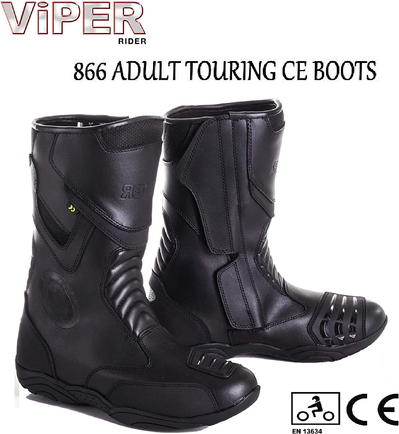 ViPER 866 ADULT TOURING BOOTS MOTORBIKE Motorcycle Men /& Women Waterproof Reinforced Ankle Sports Racing Quad CE Approved Long Boot