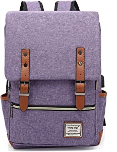 UGRACE Vintage Laptop Backpack with USB Charging Port, Elegant Water Resistant Travelling Backpack Casual Daypacks School Shoulder Bag for Men Women, Fits up to 15.6Inch Macbook in Purple