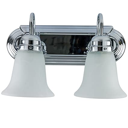Sunlite 45415 Su Bathroom Vanity Light Fixture 14 Decorative Frosted Glass 2 Lights Chrome Finish
