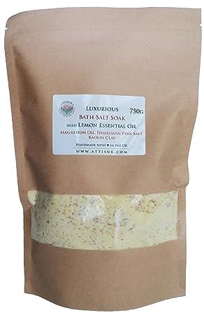 ATTIS Lujoso jabón de sal de baño con aceite esencial de limón, aceite de magnesio, arcilla de caolina, vegano, hecho a mano: Amazon.es: Belleza