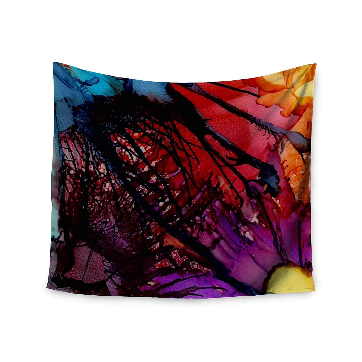 KESS InHouse Abstract Anarchy Design Daisy Purple Yellow Wall Tapestry 68 x 80