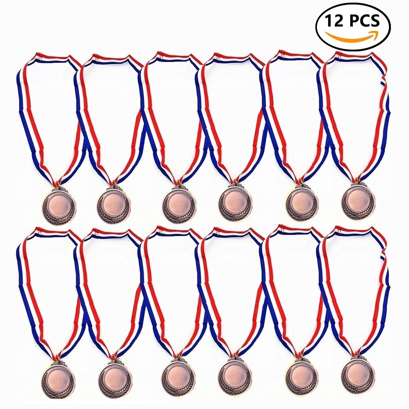 12 Medalla oro Deportiva Metal Con Cinta Durabol (Antorcha, 5cm)