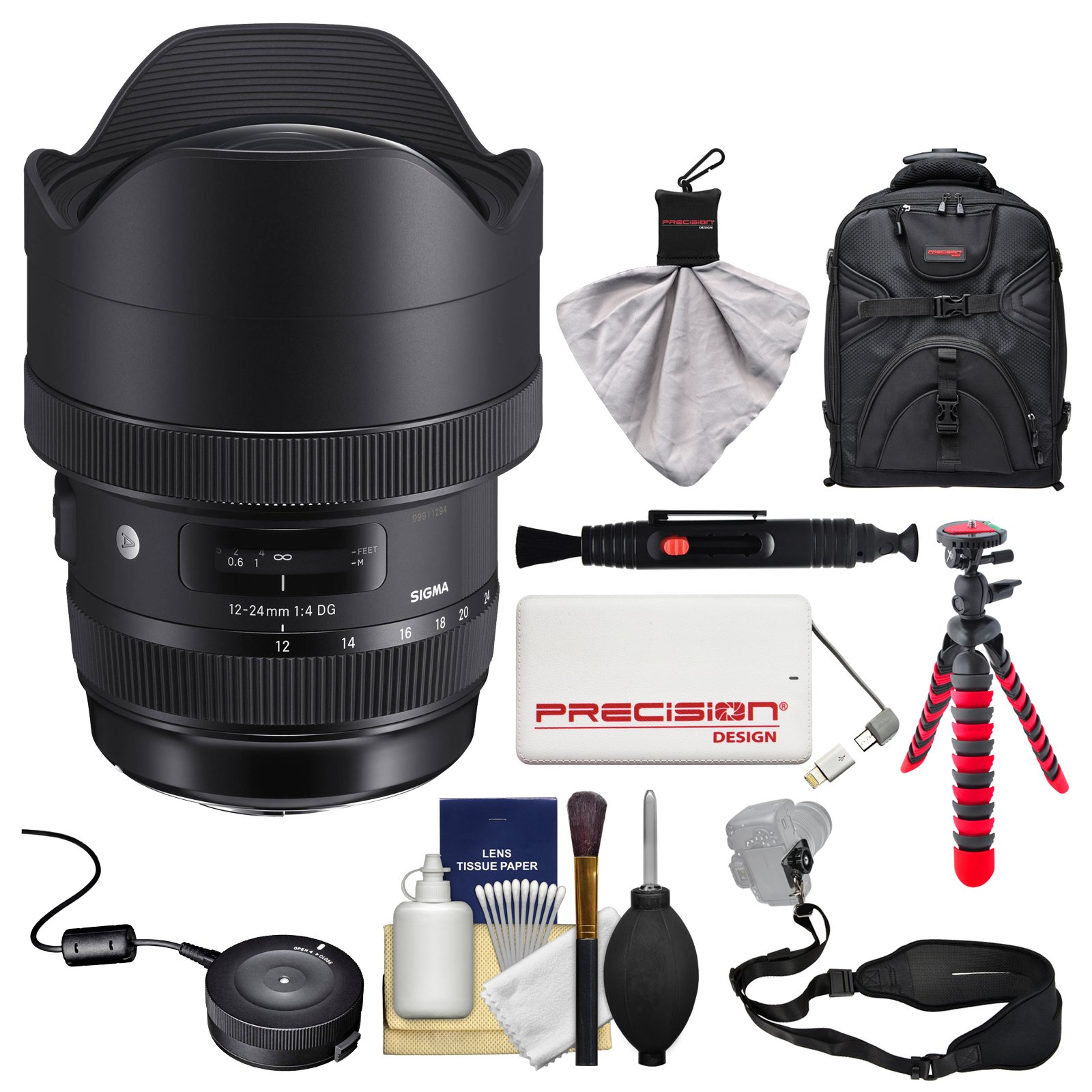 Sigma 12-24mm f/4 ART DG HSM Zoom Lens for Nikon DSLR Cameras with USB Dock + Backpack + Flex Tripod + Power Bank + Strap + Kit