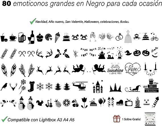 Extra Pack 80 Emojis NEGROS para Caja de Luz LED A3, A4, A5 Sin Letrero Luminoso (Negro): Amazon.es: Bricolaje y herramientas