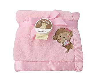02a3d70e4 Amazon.com : Carters Child of Mine Pink Baby Girl Plush Monkey Cupcake  Nursery Blanket : Baby