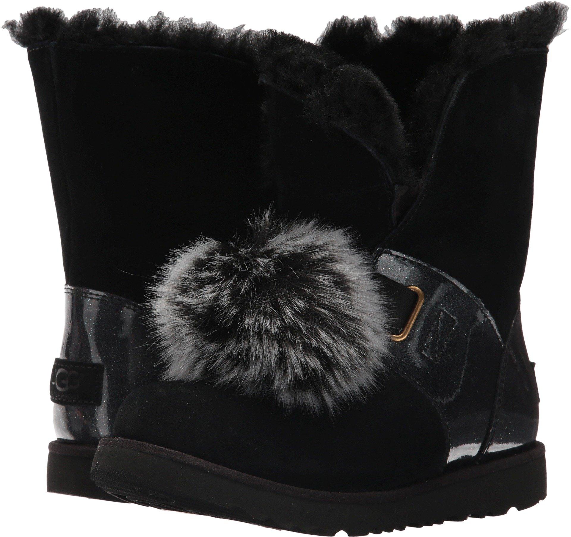 UGG Girls Isley Patent WP Boot Black Size 4 Big Kid M