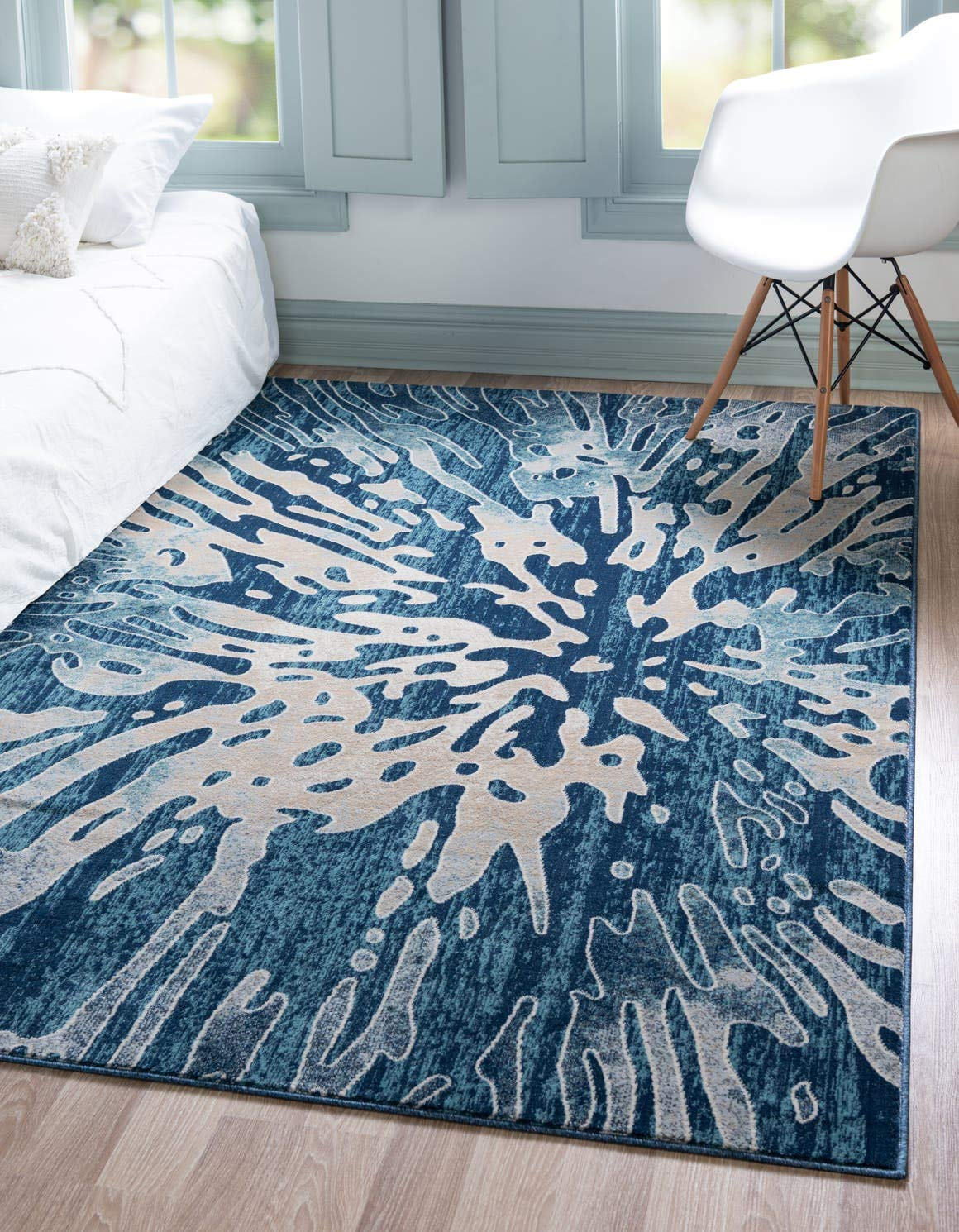 Unique Loom Mystic Collection Abstract Vintage Water Navy Blue Area Rug 5 0 x 8 0