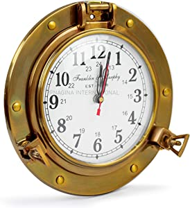 "Nagina International 9"" Antique Brass Premium Nautical Wall Decor Vintage Time's Clock 