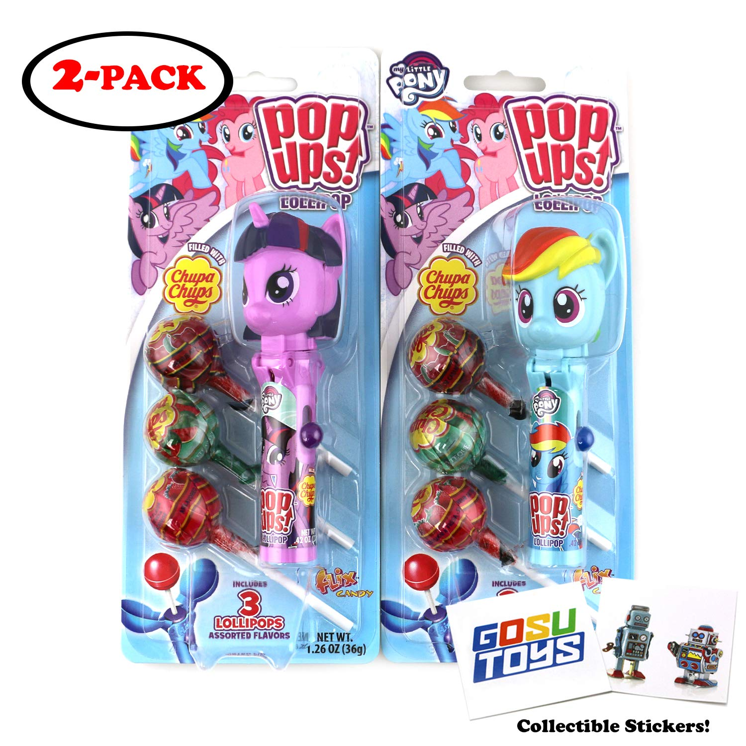 My Little Pony Pop Ups Lollipop Case Holder (Twilight Sparkle, Pinky Pie, or Rainbow Dash) with Chupa Chups Lollipops and 2 Gosu Toys Stickers (2 Pack Assorted Characters)