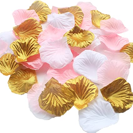 Amazon 1200pcs mixed pink gold white wedding flower 1200pcs mixed pink gold white wedding flower centerpieces artificial flower table confetti scatters flower girl basket junglespirit Choice Image