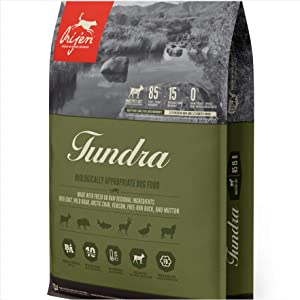 Orijen 25 LB Tundra Dry Dog Food. (Fresh Goat, Wild Boar, Venison, Arctic Char, Free-Run Duck & Mutton)
