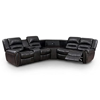 Amazon.com: Furniture of America Middleton Sectional 2-Recliner Sofa ...