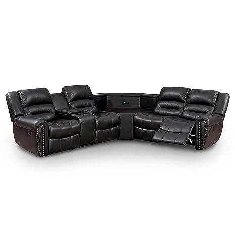 Phenomenal Amazon Com Furniture Of America Middleton Sectional 2 Creativecarmelina Interior Chair Design Creativecarmelinacom