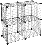 AmazonBasics 4 Cube Grid Wire Storage Shelves, Black