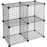 Amazon Basics 4 Cube Grid Wire Storage Shelves, Black