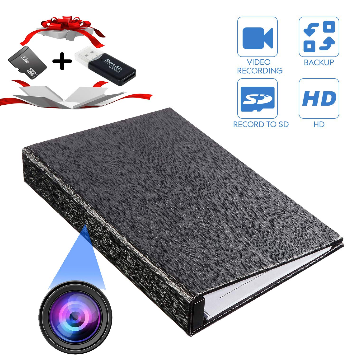 YTVISON Hidden Camera 1080P HD Book Battery Powered Camera Spy Cam Video Recorder- Loop Recording with 32GB Pre-Installed Surveillance Camera for Home Office Hotel Nanny -No WiFi Needed by YTVISON