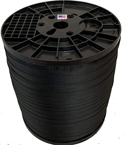 5//8 Inch Black - Pull Tape 1,500 lb Made in USA Cajun Pull Line Polyester Pulling Tape