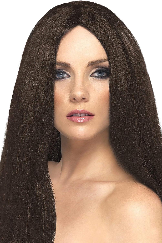 Liscia con frangetta Donna Lunga Marrone 42425 Taglia unica SMIFFYS Smiffys Parrucca Attraente e Sexy Castana
