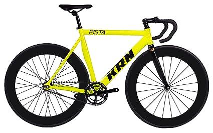 Fixed Gear KRN Pista 70 Fluor Bicicleta Aluminio y Carbono - Ruedas Perfil 70 - Manillar