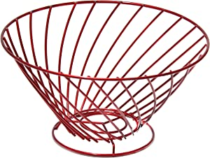 Lonovel Countertop Fruit Basket Holder,Wire Cup Shape Decorative Fruit Serving Bowl Modern Fruit Stand Kitchen Storage for Orange Banana Apple Cup-Coffee Vegetables Household Items,3 Colors (Ruby Red)