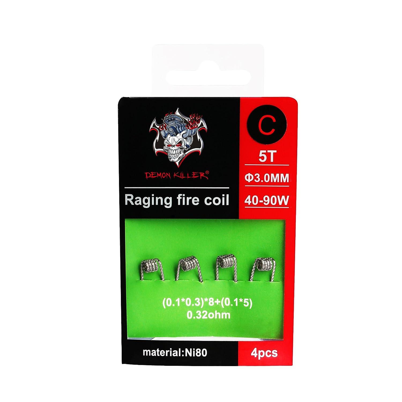 Demon Killer Vape vorkompilierte Spulen Ni80 Draht Raging Fire Coil Wires - 4 Stü ck fü r RDA/RBA / RTA/RDTA und Haushalt Verkabelung Verwendung (0, 32ohm Raging Coil C) Hiyoo