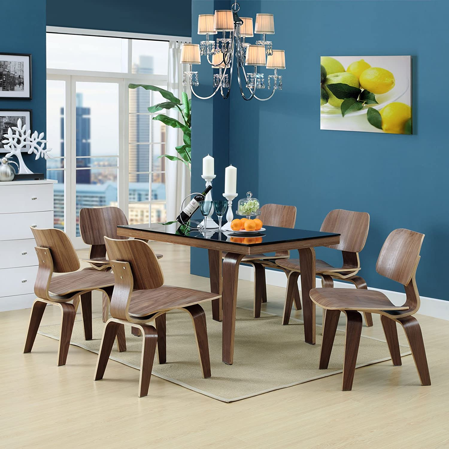 Amazon.com   Modway Fathom Mid Century Modern Molded Plywood Dining Chair  In Walnut   Chairs