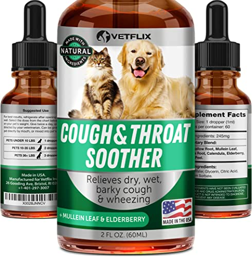 Vetflix Cough Throat Soother for Dogs and Cats – Made in USA – Premium Herbal Cough Supplement – Cat Asthma Kennel Cough Away – Mullen Leaf Elderberry – Help with Dry, Wet Barky Pet Cough