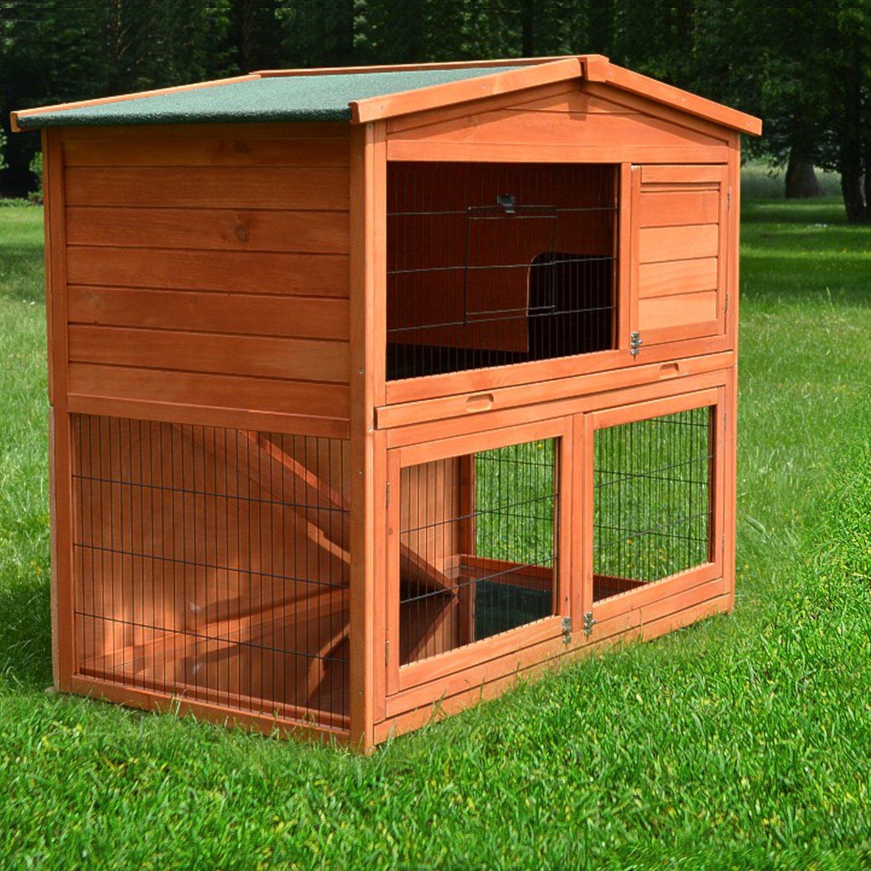 ZooPrimus Kleintier-Stall Nr 23 Kaninchen-Käfig HASENHAUS-M Meerschweinchen-Haus für Außenbereich (GRÖßE: (M) | Geeignet für Kleintiere: Hasen, Kaninchen, Meerschweinchen usw.)