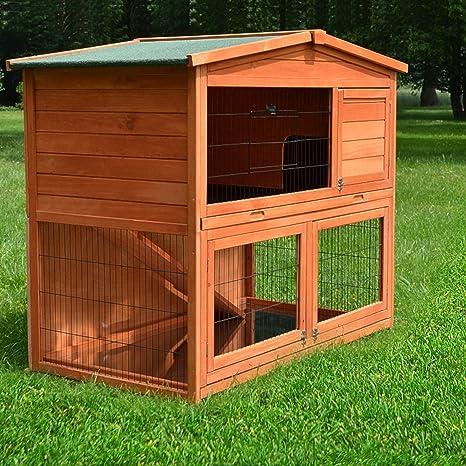 Establo Conejo Casa XL Terraza Establo 2 Animales Pequeños Establo ...