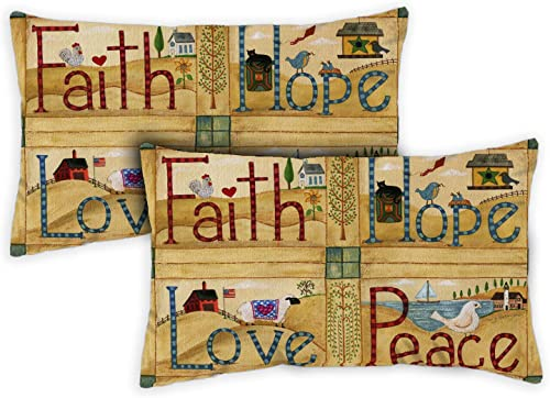 Toland Home Garden 731251 Faith Hope Love Peace 12 x 19 inch Indoor/Outdoor