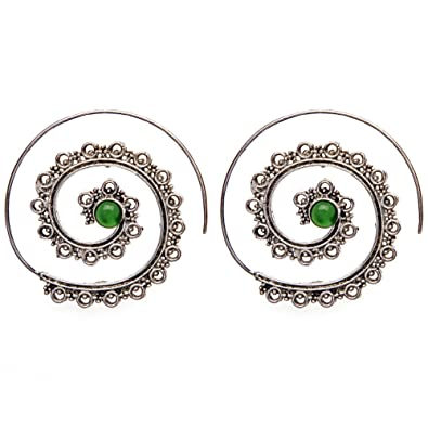 81stgeneration Women's Brass Silver Tone Simulated Gemstone Spiral Dot work Tribal Ethnic Earrings eTPxIi