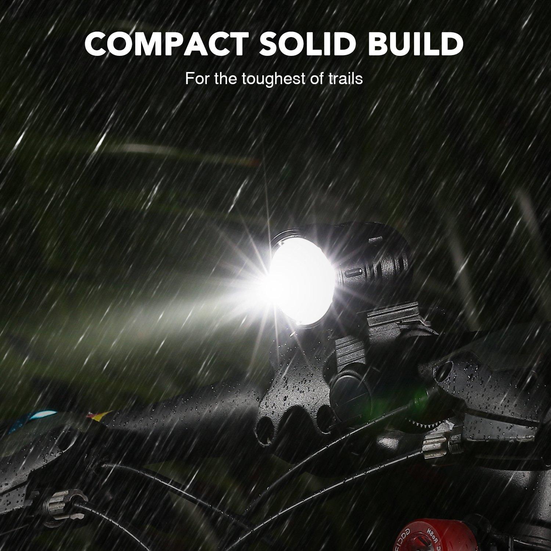 Luz Bicicleta, LED Luces Delantera de Bicicleta USB Recargable Super Brillante 1200 Lúmenes Lámpara de Bicicleta de Liberación Rápida con Luz Trasera ...