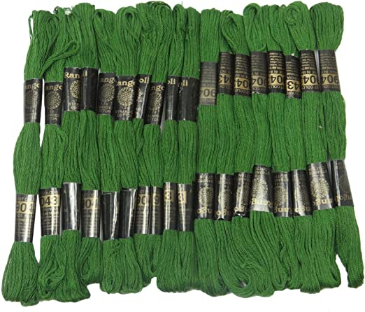 IBA Indianbeautifulart 25 Piezas de algodón Verde Hilo de Coser de ...