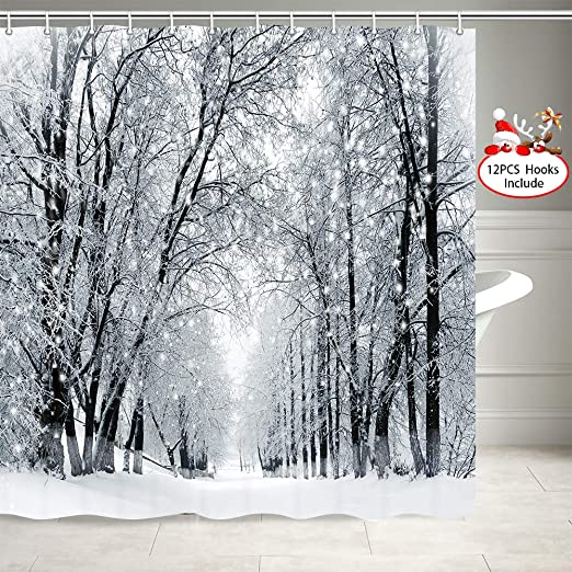 Forest Trees Heavy Snowfall Landscape Fabric Shower Curtain Hooks Bathroom Mat