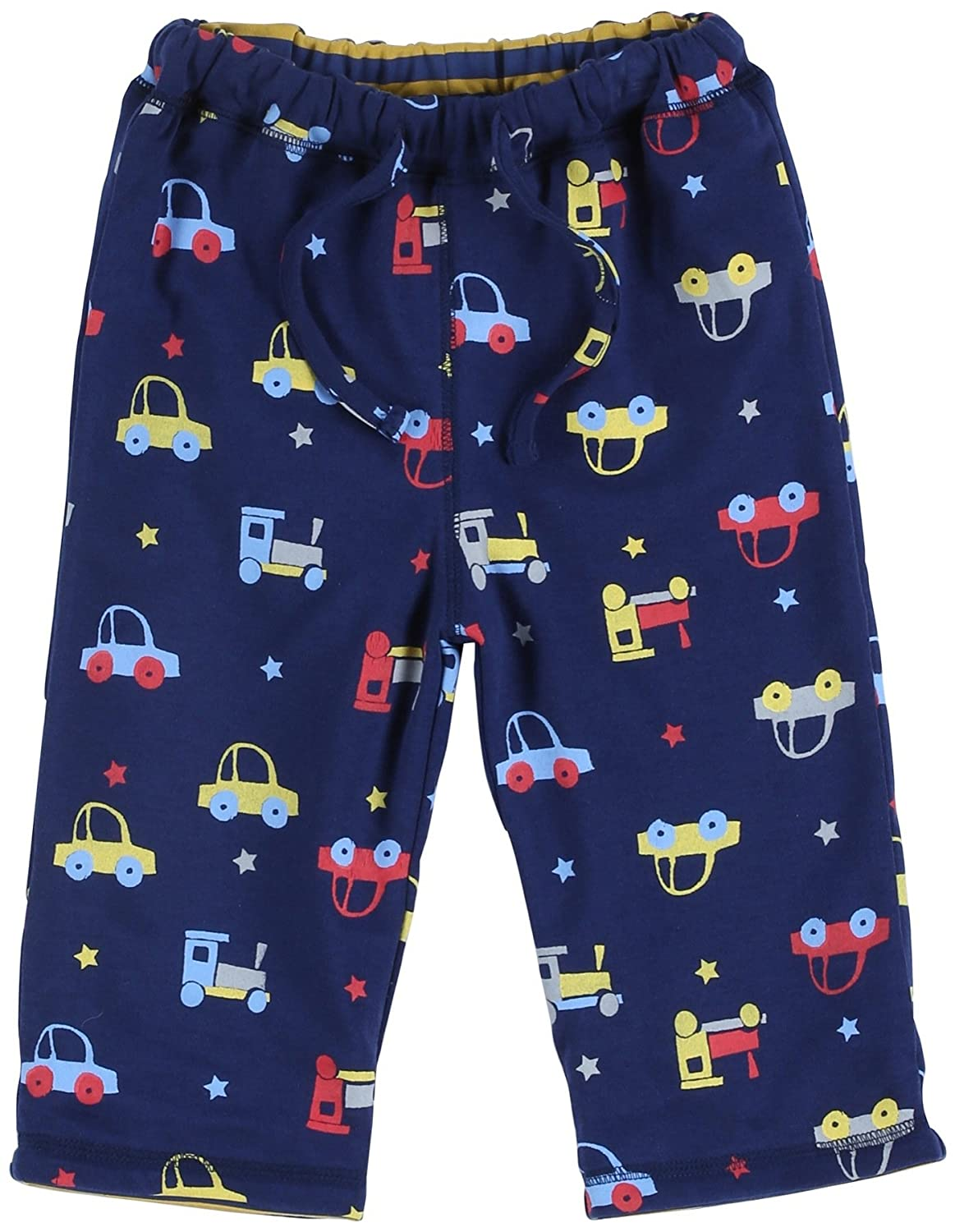 Piccalilly Organic Cotton Blue Baby Boys Car Reversible Trousers 6-12 Months