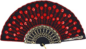 Amajiji Folding Fans for Women,Handmade Elegant Colorful Embroidered Flower Peacock Pattern Sequin Fabric Folding Fans (Red)