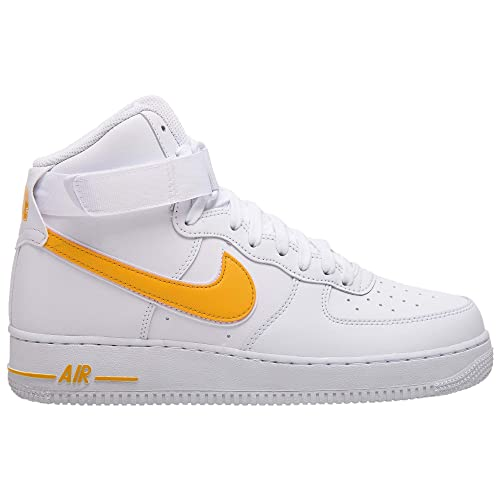 Nike Men's Air Force 1 High '07 3 Basketball Sneakers, WhiteUniversity Gold
