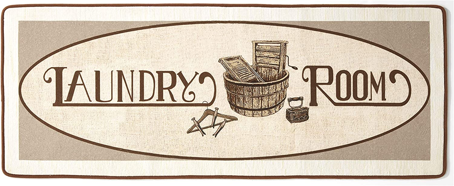 Vintage Design Laundry Room Runner Rug - Rustic Mudroom and Home Accent
