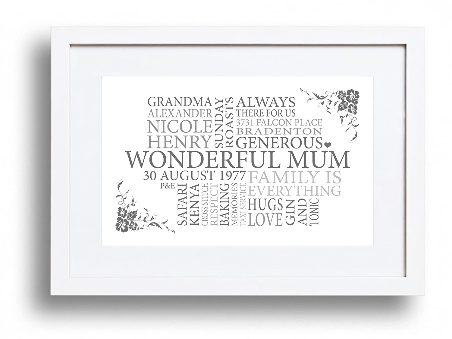A4 Personalised Mother\'s Day/Mum Print/Picture - Floral Text/word ...