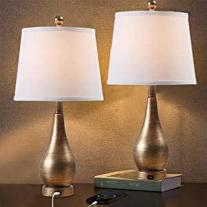 HiiARug USB Table Lamps Set of 2, 22-inch Bedside Lamp with USB Charging Port Modern Desk Lamp Nightstand Lamps for Bedrooms, Living Room, Office, Cafe (Bowling Shape Base, White Shade)