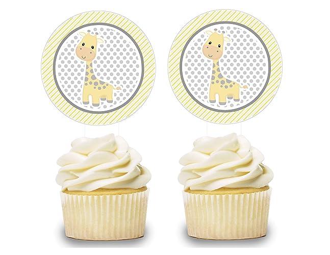 Amazon Com Gender Neutral Giraffe Cupcake Toppers 12 Pcs Cake Picks