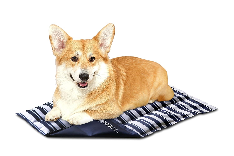 American Kennel Club AKC623TAN Club Reversible Stripe Large Self Cooling Pet Mat, 26 x 20 x .5