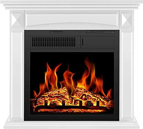 R W Flame Electric Fireplace Mantel Wooden Surround Firebox Free Standing Adjustable Led Flame Remote Control White 25 Hx27 W Home Kitchen