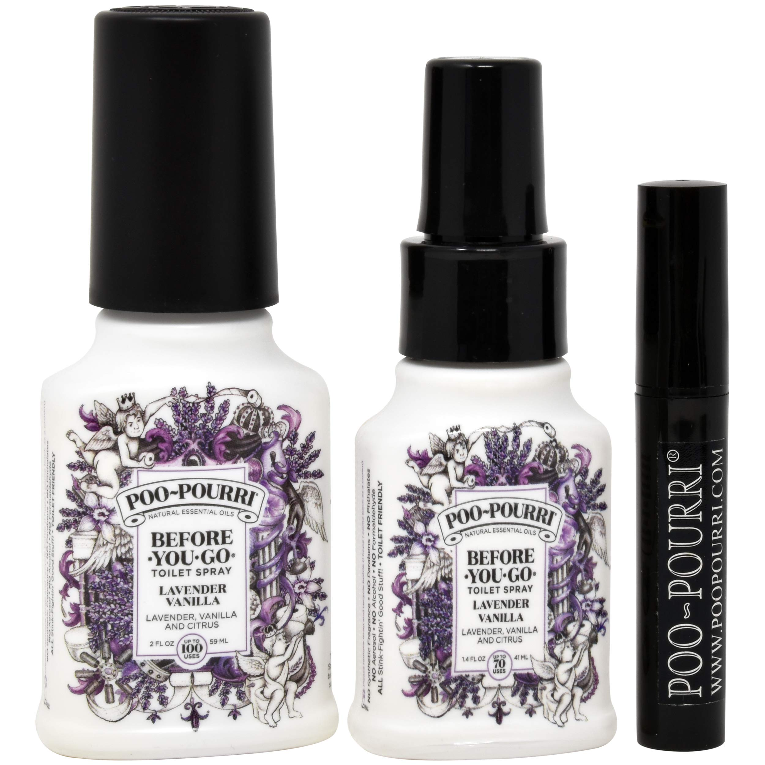 Poo-Pourri Lavender Vanilla 1.4-Ounce Bottle, Lavender Vanilla 2-Ounce Bottle and Travel Size Disposable Spritzer